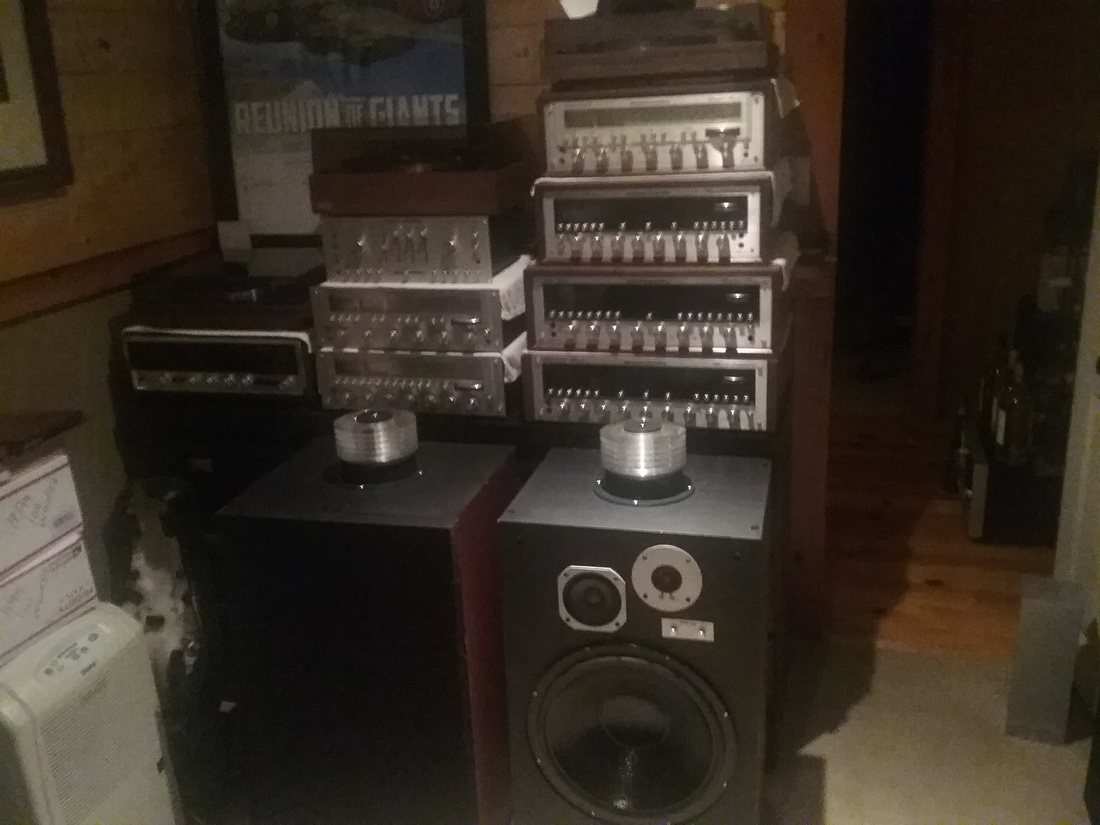 Some of my marantz recievers and hpm 150,s awaiting refoamed origional woofers