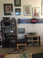 Main system sources; Wyetech Labs Coral pre-amp, Avid Ingenium TT with Vincent phono stage, JA Michel GyroSE turntable with ZYX 100 cartridge, PS Audio phono stage, Dynalabs Etude FM tuner, Shangling CD-T100 CD player. Racks and stands are by Timber Natio