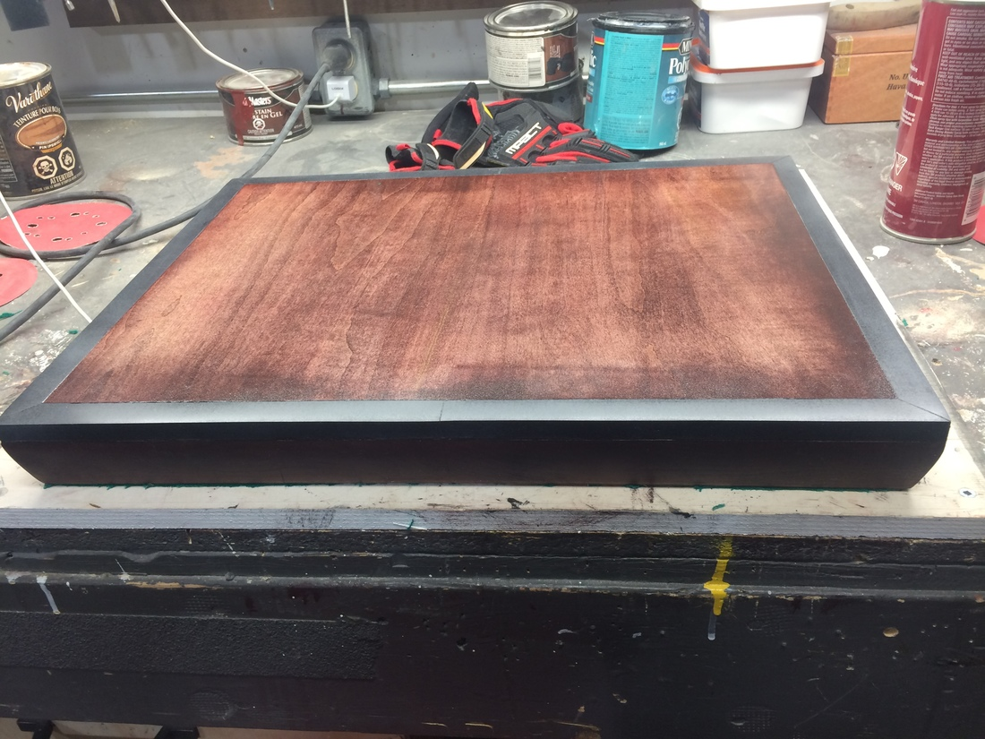 Maple Turn Table Base-Slate Trim