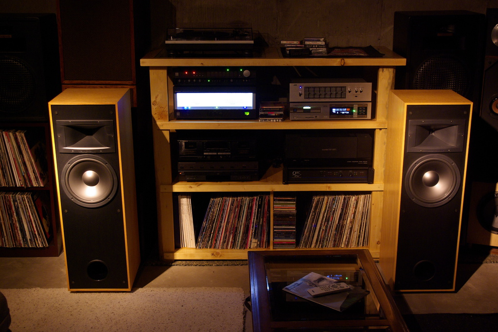 New double-wide stand with record storage