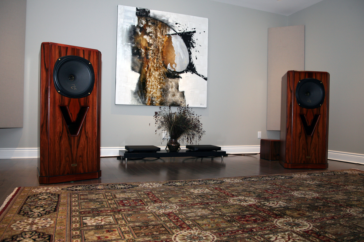 NuForce Reference 20's in an Ottawa, Ontario customers acoustically treated listening room. It's just a fantastic system!