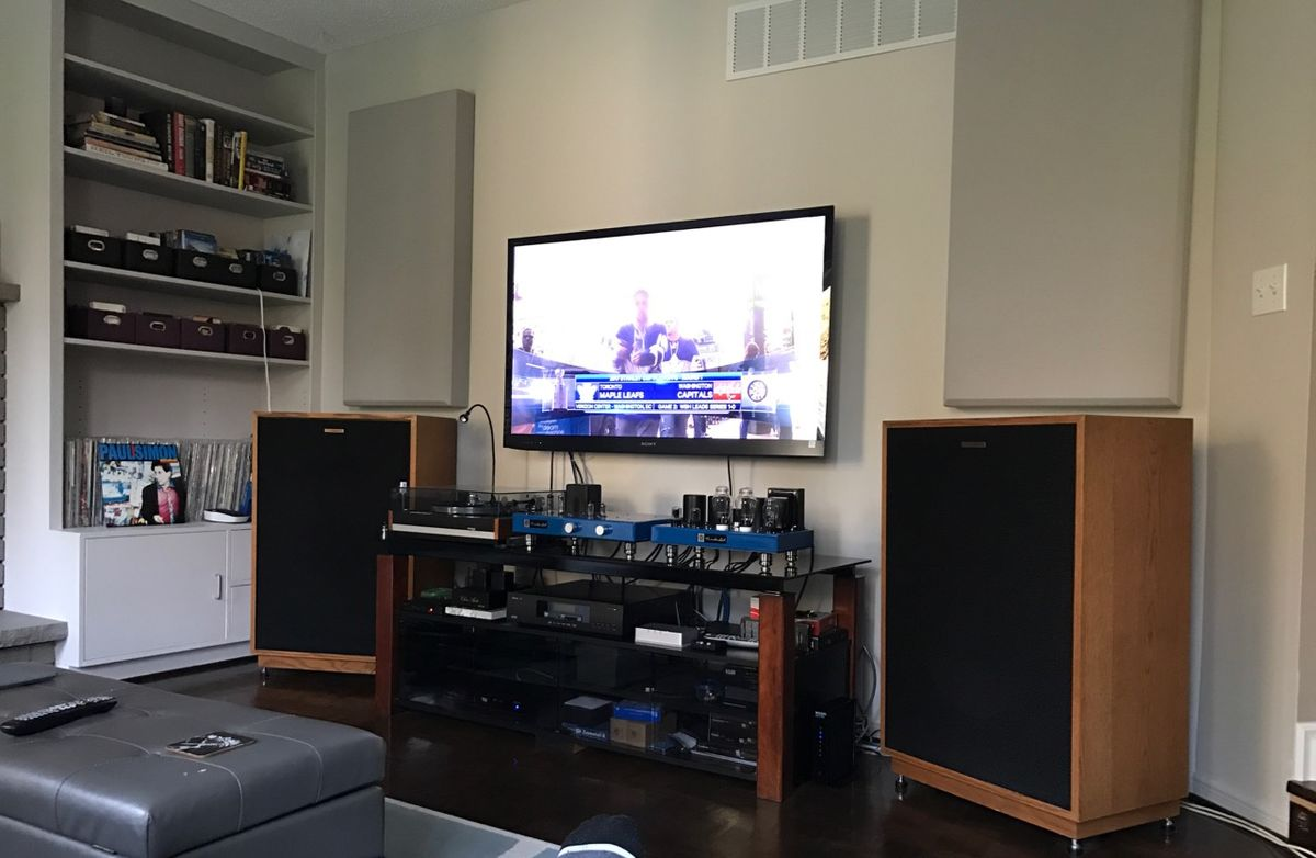 acoustic panels behind speakers