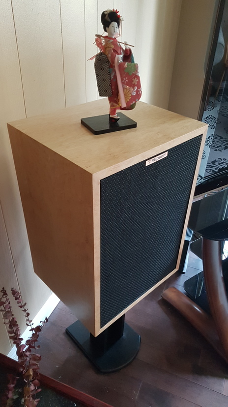 Klipsch Heresy custom x-overs and refinished in birds eye maple thanks Aaron Anderson and Chris Bobiak