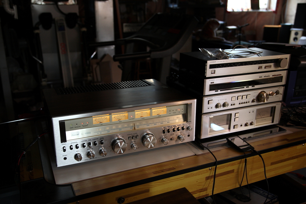 Sansui G-9000 size compared to Luxman C-02, M-02, T-240
