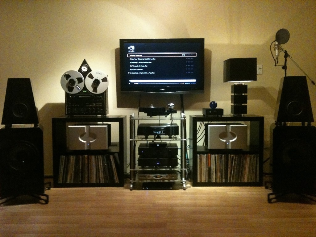 Eficion F300 Speakers, Belles MB01 Class A Mono Block Amps, Belles LA01 Preamp, Belles Soloist 1 Phono Pre,Audio Aero La Fontaine CD Player/DAC, Brinkman Bardo Turntable, Stillpoints Rack