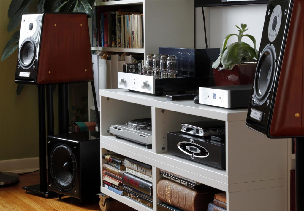 PrimaLuna Dialogue Two integrated amplifier, PS Audio Digital Link III DAC, Technics SL-D2 Turntable, Usher BE-718 speakers, APC H15BLK power conditioner, DIY bi-wire speaker cables.