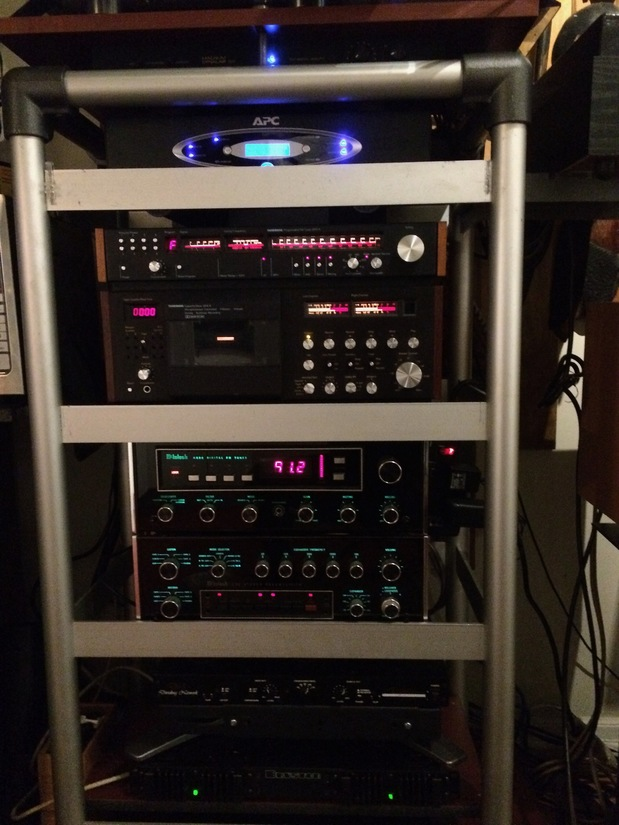 APC power conditioner, Tandberg 3001a Tuner,Tandberg 3014a Tape Deck,Mcintosh MR 80 Tuner,Mintosh C32 Pre, Angstrom Dividing Network, Bryston 2bs x2