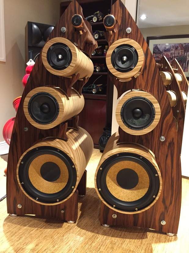 "Rosewood and zebrawood,Passive with active 12"" woofers,Focal drivers....almost finished, little cabling and support machining. One of a kind 4 way."