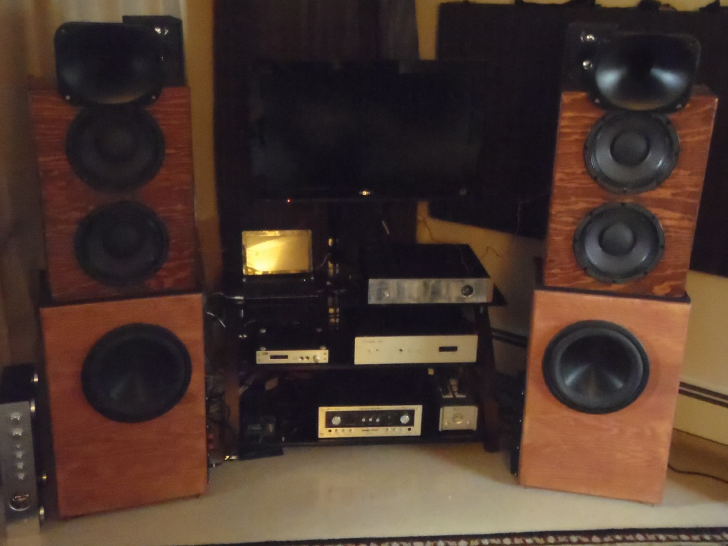 Beyma 10mi100 in OB + BC de250 + sealed subs. Diy Class a amplification (hiraga 30W and pass F5) 2013
