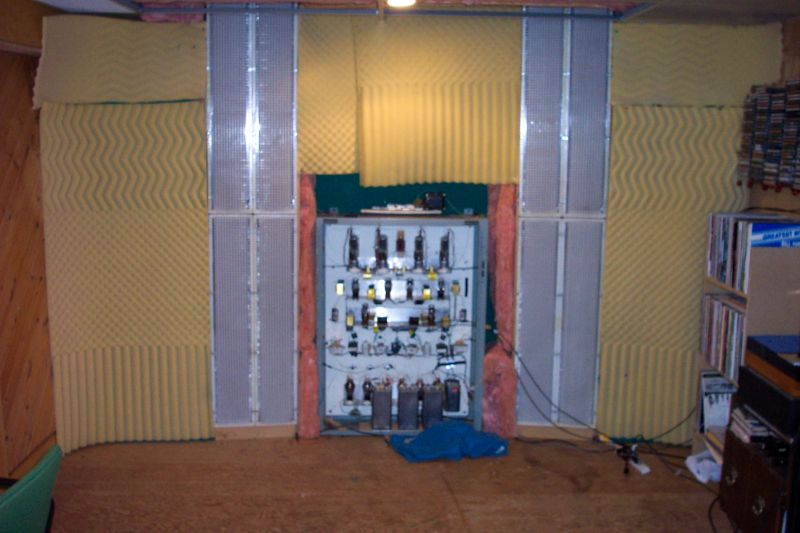 Acoustat 2+2 on improvised Infinite baffle. Diy Direct drive amplification (10y,801A, 845 + Western Electric 417A preamp) (2007-8)