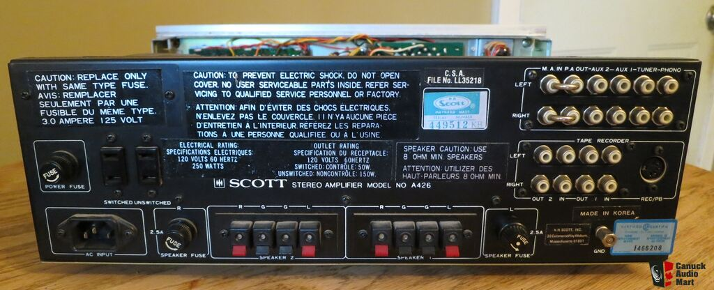 USA. VINTAGE (50,s-80,s) 1031655-vintage-hh-scott-a-426-integrated-amp-for-parts-or-repair-blows-fuses-37-watts