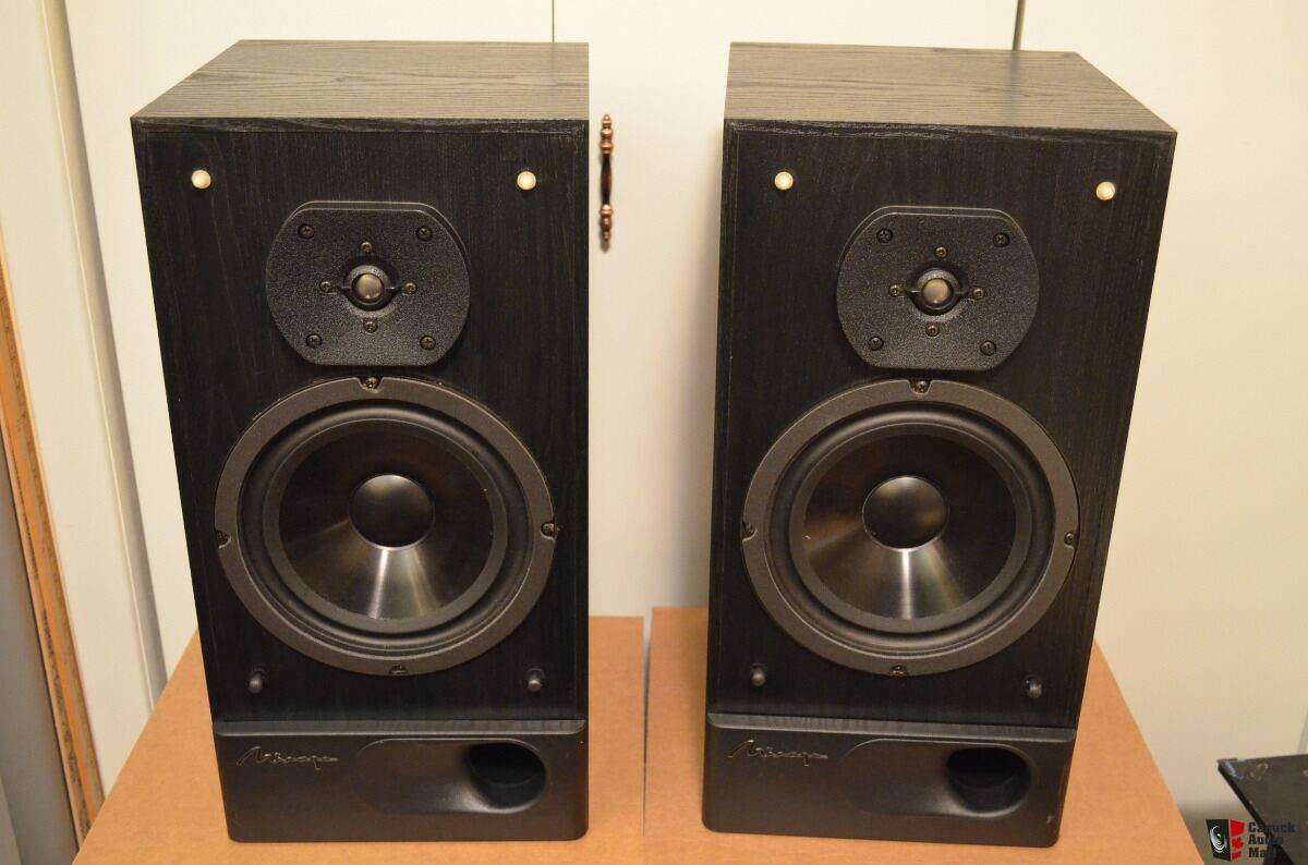 mirage m-490 two-way large bookshelf speakers bi-wire black made in