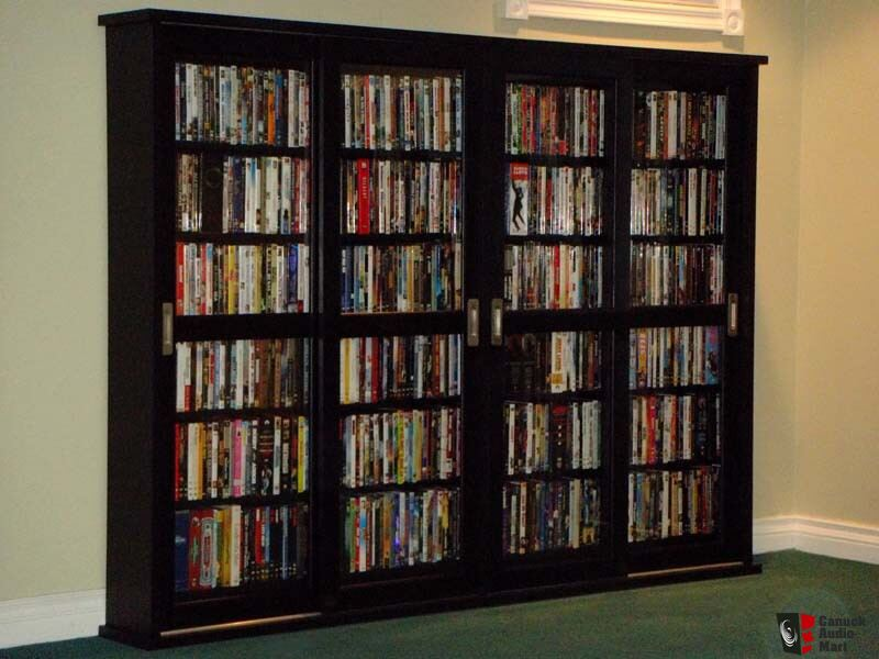 80 Wide Quadruple Multimedia Cabinet With 4 Sliding Glass Doors