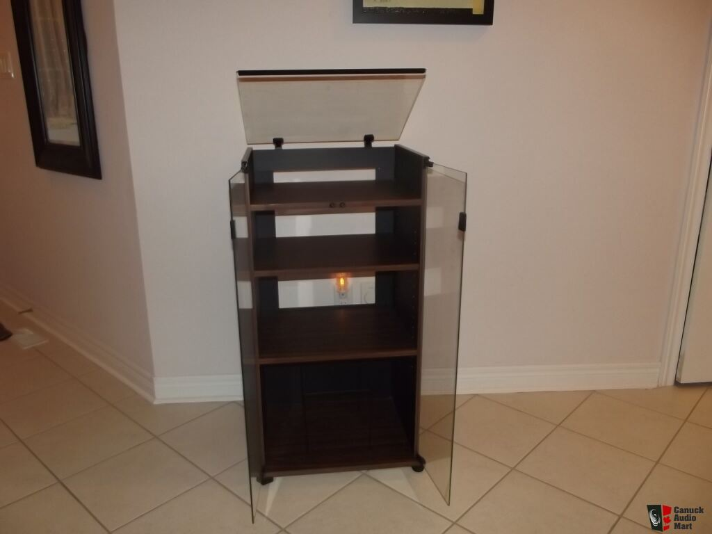 Audio Rack Stereo Cabinet Vintage NEW Glass Top Turntable Photo ...