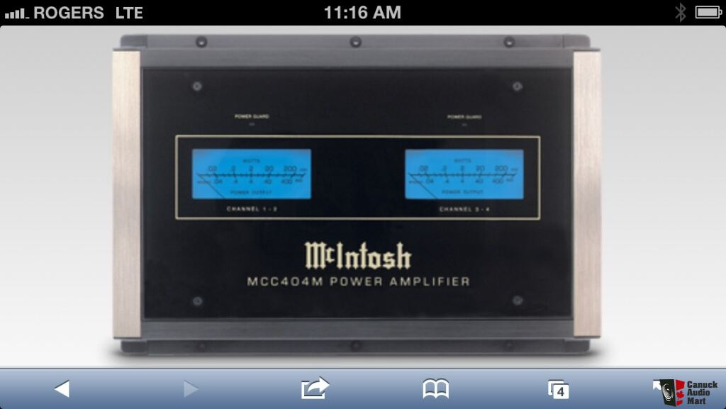 Mcintosh MCC404M Car Amp For Sale. The one with the meters ...